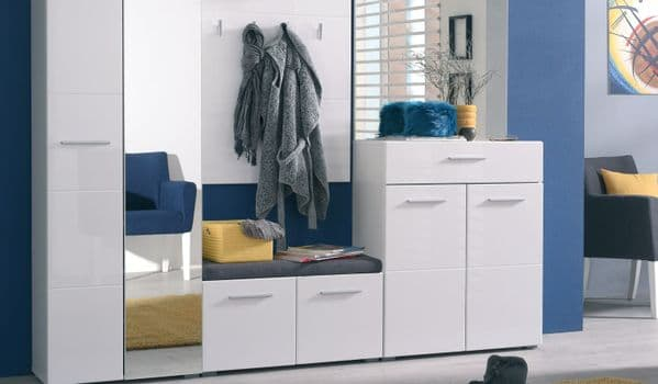 Anka White Gloss Shoe Bench Storage with Grey Cusion Seat